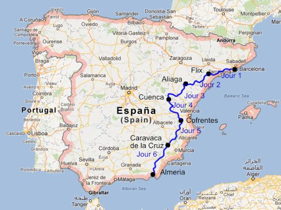 Carte De Lespagne Barcelone.Traversee De L Espagne En Moto De Barcelone A Almeria
